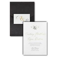 Ampersand Hearts Pocket Wedding Invitation Icon Online Fonts, Pocket Wedding Invitations, Reception Card, Foil Stamping, Response Cards, White Envelopes, Your Cards, Wedding Cards, Color Schemes