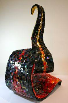 'Spiritfire' backview by Caitlin Hughes, 2012, Mexican and Italian Smalti, gold and mirror pieces on fibreglass and cement substrate. 70cm x 40cm x 30cm.