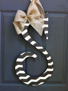 Initial Door Hanger with Burlap Accent