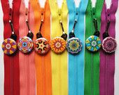 ** 10 Assorted Kaleidoscope Zipper Pulls NEW DESIGNS - Pinwheel Collection (29 Unique Listings for All Diff. Zip Pulls!) ** -- Etsy Seller = ZipIt -- Wholesale on Zips & Zip Pulls (nothing insane.. has listings for 6 zips on some listings!) -- Read Sellers HP Blurb.... There's a Code and some Info in it :D -- (Direct Link to Sellers Listing - https://www.etsy.com/listing/67111634/wholesale-50-kaleidoscope-zipper-pulls?ref=related-2 )