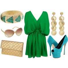 Green and Turq on #polyvore