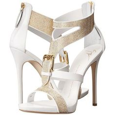 Giuseppe Zanotti E50220 ($1,250) ❤ liked on Polyvore featuring shoes, sandals, heels, high heels, sapatos, white, leather strap sandals, strappy heel sandals, white high heel sandals and platform sandals #giuseppezanottiheelswhite