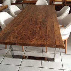 #mulpix Modelo lindo de mesa com Base inox madeira de demolição rústica da @JEQUITIBA_MADEIRAS_E_MOVEIS! E o resultado fica incrível . Confiram no ig da loja mais modelos, @JEQUITIBA_MADEIRAS_E_MOVEIS eles enviam para todo o Brasil!