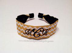Personalized Headband  Yellow Chevron by bushelandpeckbaby on Etsy, $12.00