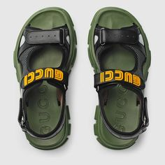 Gucci Leather and mesh sandal Jelly Sandals, Cute Sandals, Strap Sandals, Shoes Sandals, Gucci Mens Sandals, Leather Sandals, Addidas Shoes Mens, Leather Men, Black Leather