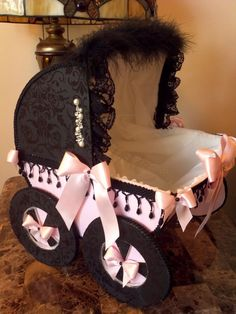 Pink and Black Baby Carriage Centerpiece by TheCarriageShoppe,