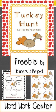 """My students here love to HUNT! Here they will hunt for a turkey while completing letter recognition activites.   Teachers hang letters around the room. Students must find the letters to make the Thanksgiving words. Each word will have a hidden turkey behind a letter. When students """"hunt out"""" all the turkeys they have won the game."""