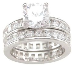 Solitaire Cubic Zirconia CZ Wedding and Engagement Ring Set in Sterling Silver #ring #silver #amazon