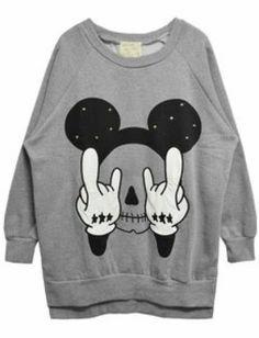 Grey Long Sleeve Rivet Mickey Print Sweatshirt pictures