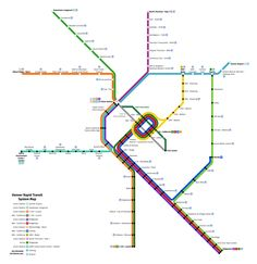 Unofficial/Future Map: Denver RTD Rail Transit by Theo Ditsek Having just complained about how depressingly average the new official Denver RTD rail map is (June stars), it's rather. System Map, Train Map, Metro Map, Subway Map, Rapid Transit, Fantasy Map, Light Rail, Public Transport, Planer