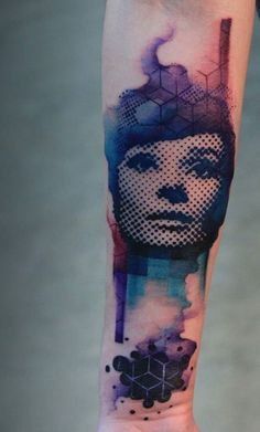 Beautiful half tone sleeve tattoo. The combination of the colors plus the abstract feel of the design makes it look unique and out of this world. The modern feel on the design also helps set it apart from other designs. Source