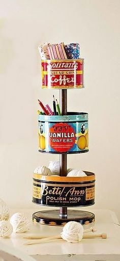 DIY Vintage Tin Craft Organizer TUTORIAL Vintage tins can be found at flea markets and online auction sites for as little as 1 each bhg Tin Can Crafts, Fun Crafts, Diy And Crafts, Arts And Crafts, Crafts For The Home, Creative Crafts, Decor Crafts, Vintage Tins, Vintage Crafts