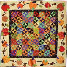 """All Around the Pumpkin Patch, 62""""square, pattern by Karie Patch Designs"""