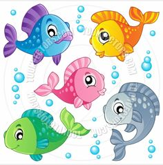 Clipart Happy Colorful Fish And Bubbles