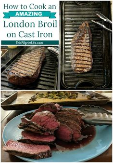 Cook a London broil on a cast iron griddle for an amazing and budget-friendly steak dinner at home! Easy enough for a weeknight meal, delicious enough for a dinner with friends! This London broil is absolutely superb! Grilled London Broil, Cooking London Broil, London Broil Recipes, Griddle Recipes, Beef Recipes, Skillet Recipes, Cast Iron Steak, Cast Iron Griddle, Cast Iron Recipes