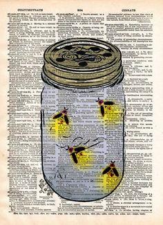 Firefly art, mason jar artfireflies in mason jar, childrens art, vintage dictionary art print - - 1 Wine Bottle Crafts, Mason Jar Crafts, Mason Jar Diy, Firefly Mason Jars, Firefly Art, Firefly Drawing, Firefly Painting, Firefly Tattoo, Fireflies In A Jar