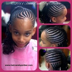 Hair Care by Amber - Braids- Cornrow Designs Little Girl Braid Hairstyles, Natural Hairstyles For Kids, Baby Girl Hairstyles, Kids Braided Hairstyles, Princess Hairstyles, Cute Hairstyles, Natural Hair Styles, Hairstyle Ideas, Little Black Girls Braids