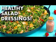 5 Healthy Homemade Salad Dressing Recipes! - YouTube Massaged Kale Salad, Arugula Salad, Romaine Salad, Keto Salad Dressing, Tahini Dressing, Simple Spinach Salad, Ginger Salad Dressings, Sweet Potato Noodles, Summer Salad Recipes