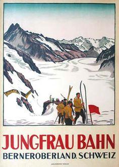 Cardinaux, Emil poster: Jungfrau Bahn (skiers)