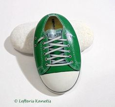 Green All Star Painted Stone !  Is Painted with high quality Acrylic paints and finished with Glossy varnish protection.