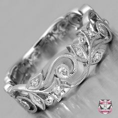 Diamond wedding band Art Nouveau style with 0.10 cts diamonds by Fay Cullen (6 mm wide, 1.5 mm deep, 4.4 g) $1822.00 #wedding_ring #platinum #diamond #art_nouveau...gorgeous