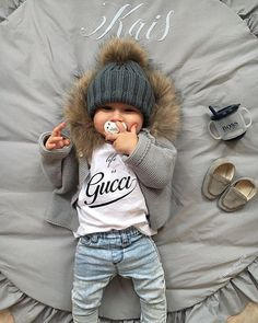 """""""Life is Gucci"""" – with my young Versace pacifier! LaVielen thanks … – Cute Adorable Baby Outfits Little Boy Fashion, Baby Boy Fashion, Toddler Fashion, Kids Fashion, Fashion Clothes, Swag Fashion, Boy Clothing, Fashion Usa, Infant Clothing"""