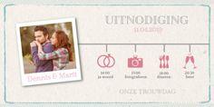 Enkele trouwkaart foto met een tijdlijn