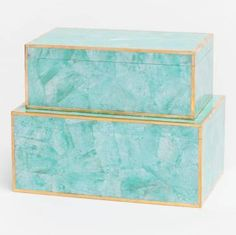 Johnson turquoise hammer shell box with brass border at Mecox Gardens