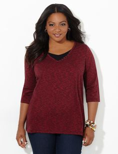 Daybreak Top | Catherines Spice up your casual look with our comfortable space-dye top. A contrast inset at the necklace adds coverage and a layered-look feel. Grommet details add flair to the V-neckline. Three-quarter sleeves. Catherines tops are perfectly proportioned for the plus size woman. #catherines #plussize #plussizefashion #fallfashion