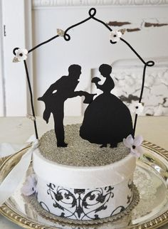 Wedding cake topper- silhouette