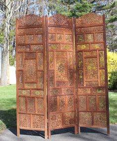 "Antique Hand-Carved TEAK ROSEWOOD ROOM DIVIDER PANEL SCREENS x3 LG. 74""H. India"