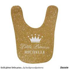 Gold glitter little princess crown baby bib design