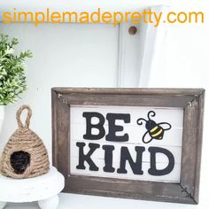 DIY Dollar Tree Farmhouse Sign, Reverse Canvas, Bee Kind, Be kind sign, Dollar Store DIY
