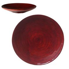 Spun Bamboo Plate - Decorative Deep Red Lacquer - $13.99
