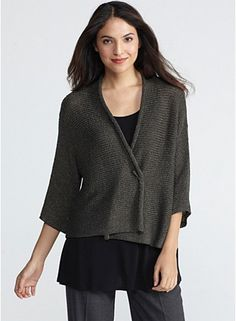 Short Kimono Cardigan with 3/4 Sleeves in Fine Open Twist  Try this with oversize kimono sleeve pullover