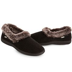 Acorn   Chinchilla Collar Slippers Black $49. Faux Fun! These Cozy Slippers  Feature Rich
