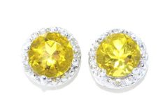 2 Carat Yellow Citrine Diamond Stud Earrings .925 Sterling Silver Rhodium Finish White Gold Quality
