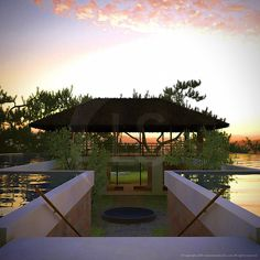 Como Shambhala Bali Resort and Spa Dusk Rendering. ::          After architect Cheong Yew Kuan.           Artist & Modeler: Cleo.