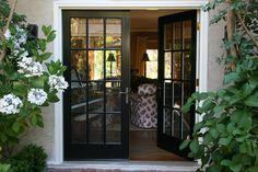 Black bookshelf and French Doors.......vignette design: July 2013