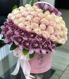Rose Flower Arrangements, Creative Flower Arrangements, Happy Birthday Flowers Wishes, Flower Box Gift, Beautiful Rose Flowers, Luxury Flowers, Blooming Flowers, Floral Bouquets, Floral Wreath