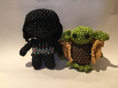 Star Wars Darth Vader & Yoda Rubber Band Figure | Amigurumi | Loomigurumi by BBLNCreations on Etsy Loomigurumi Amigurumi Rainbow Loom