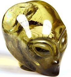 "2.1"" Star Being, Female Alien, CITRINE Carved Crystal Skull"