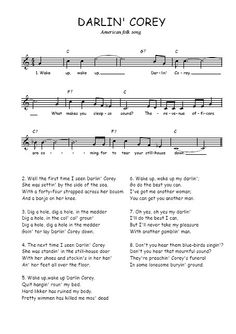 Darling Corey – Bluegrass Lyrics