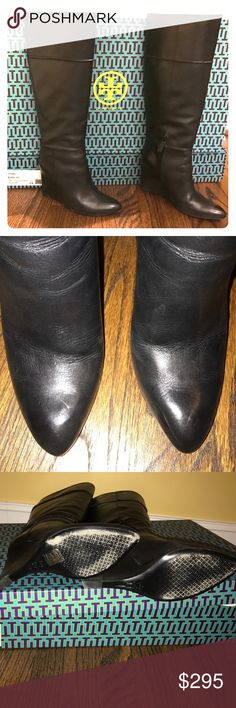 Tory Burch Black Linnett Boots Tory Burch Black Wedge Boots from this season! Worn twice. Description in photo. Comes with original Tory Box (if covered by Poshmark shipping). Very light, hardly noticeable mark on top. As shown in photo. Tory Burch Shoes Heeled Boots