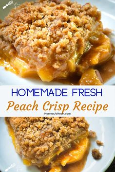 Homemade Peach crisp is loaded with velvety peaches and a crunchy topping without oats. Make this recipe with fresh or frozen peaches and serve warm with yummy ice cream. Köstliche Desserts, Delicious Desserts, Dessert Recipes, Peach Dessert Recipe, Homemade Desserts, Homemade Breads, Cake Recipes, Dinner Recipes, Fresh Peach Recipes
