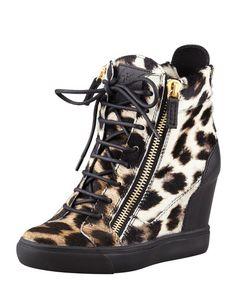 86d8afaafe Giuseppe Zanotti Leopard-Print Calf Hair Wedge Sneaker