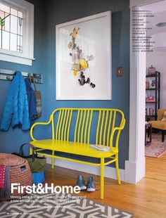 sunny yellow bench crate and barrel - Google Search