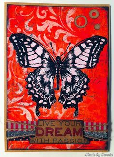 Made by Sannie: Abandoned butterfly card using Tim Holtz, Ranger, Idea-ology,  Sizzix and Stamper's Anonymous products; May 2015