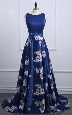 Navy Floral Print Sleeveless Satin Floor Length A Line Long Prom Dress, Shop plus-sized prom dresses for curvy figures and plus-size party dresses. Ball gowns for prom in plus sizes and short plus-sized prom dresses for Floral Prom Dresses, Prom Dresses For Sale, Pretty Dresses, Homecoming Dresses, Beautiful Dresses, Bridesmaid Dresses, Formal Dresses, Elegant Dresses, Sexy Dresses