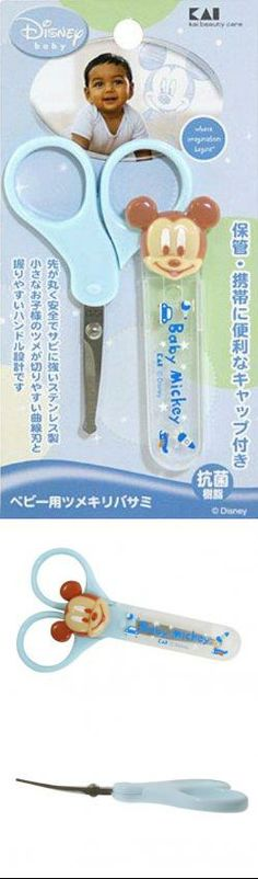 KAI Disney Baby Mickey Baby Infant Safety Nail Scissors - Made in Japan Scissors: High-carbon stainless steel. Handles: ABS resin. Cap: ABS resin. Made in Japan.  #Kai #Baby_Product